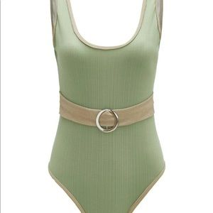 Pacsun ringer belted one piece swimsuit sage green